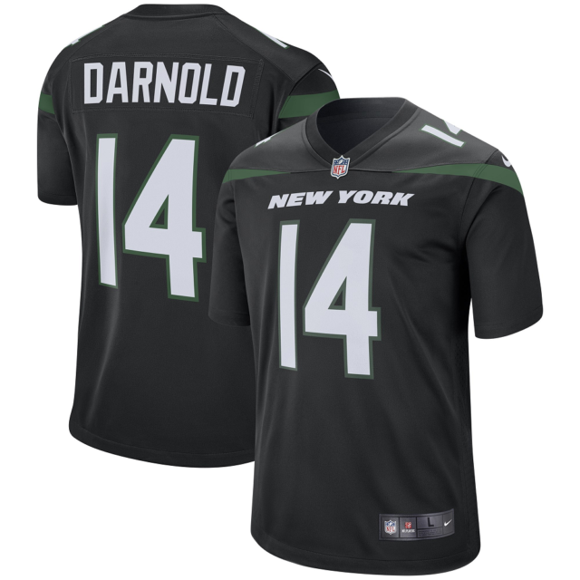 Men's New York Jets #14 Sam Darnold BLACK Player Game Jersey