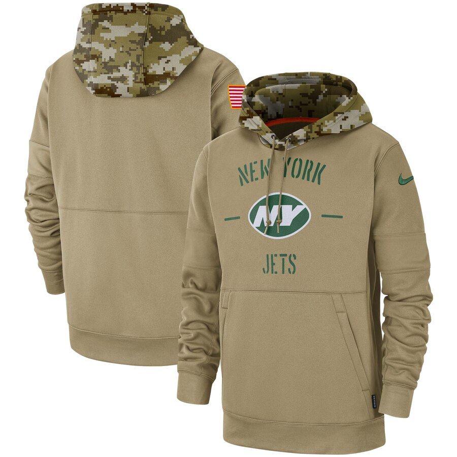 Men's New York Jets 2019 Salute To Service Sideline Therma Pullover Hoodie