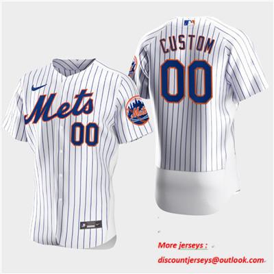 Men's New York Mets Custom Nike White Flexbase Jersey