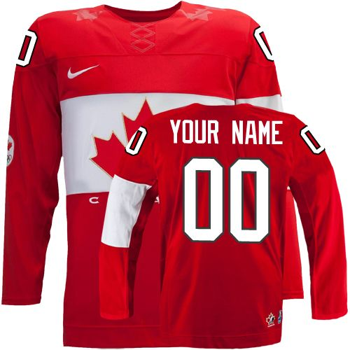 Men's Nike Team Canada Customized Authentic Red Away 2014 Olympic Hockey Jersey