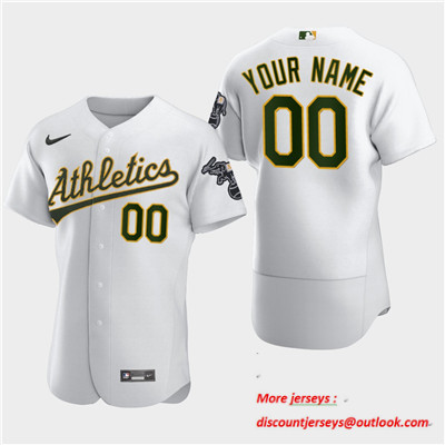 Men's Oakland Athletics Custom Nike White Flexbase Jersey