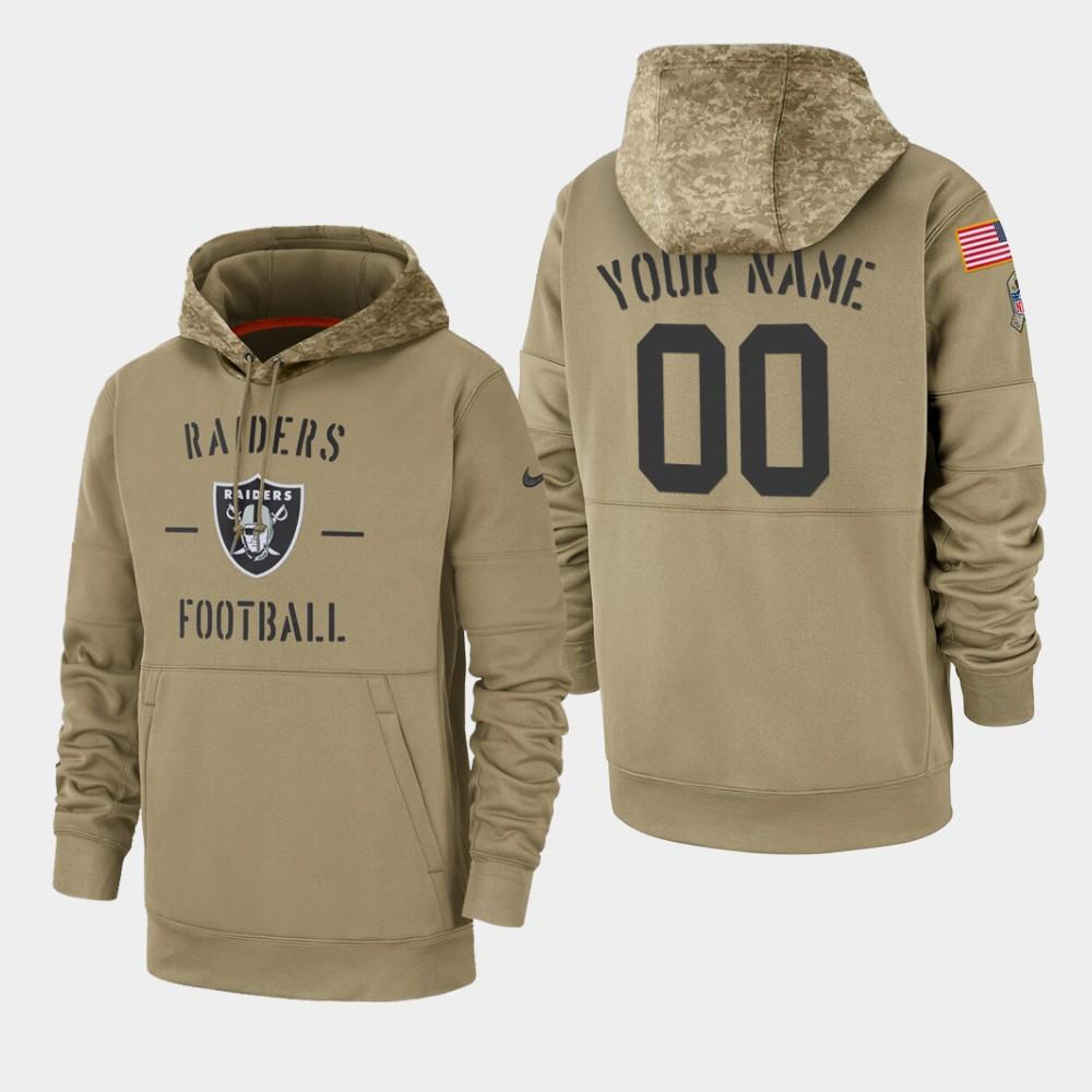 Men's Oakland Raiders #00 Custom 2019 Salute to Service Sideline Therma Hoodie - Tan