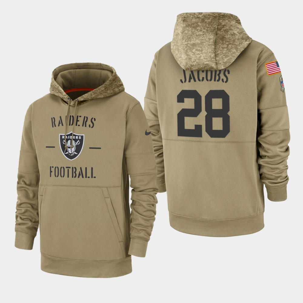 Men's Oakland Raiders #28 Josh Jacobs 2019 Salute to Service Sideline Therma Hoodie - Tan