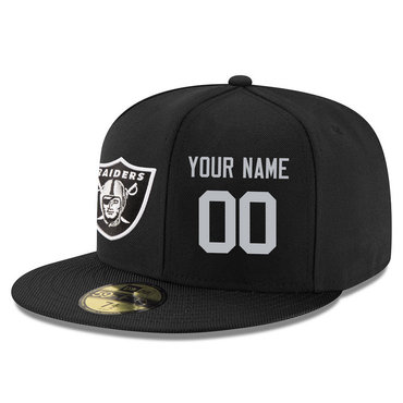 Men's Oakland Raiders Black Color Snapback Custom Hat (Stitched any name&number)