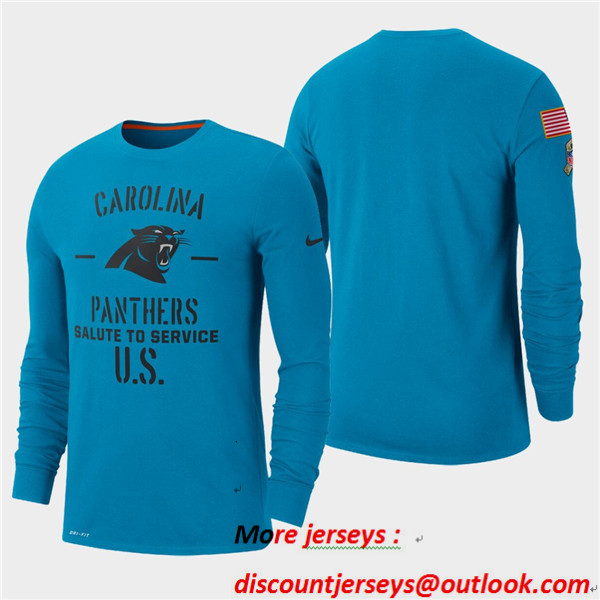 Men's Panthers Blue 2019 Salute to Service Sideline Long Sleeve T-Shirt
