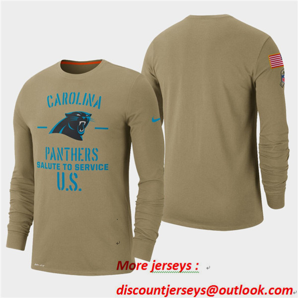 Men's Panthers Tan 2019 Salute to Service Sideline Long Sleeve T-Shirt