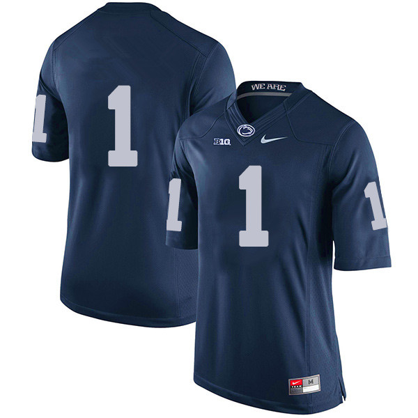 Men's Penn State Nittany Lions #1 KJ Hamler NCAA Navy Blue Stitched Jersey Without Name