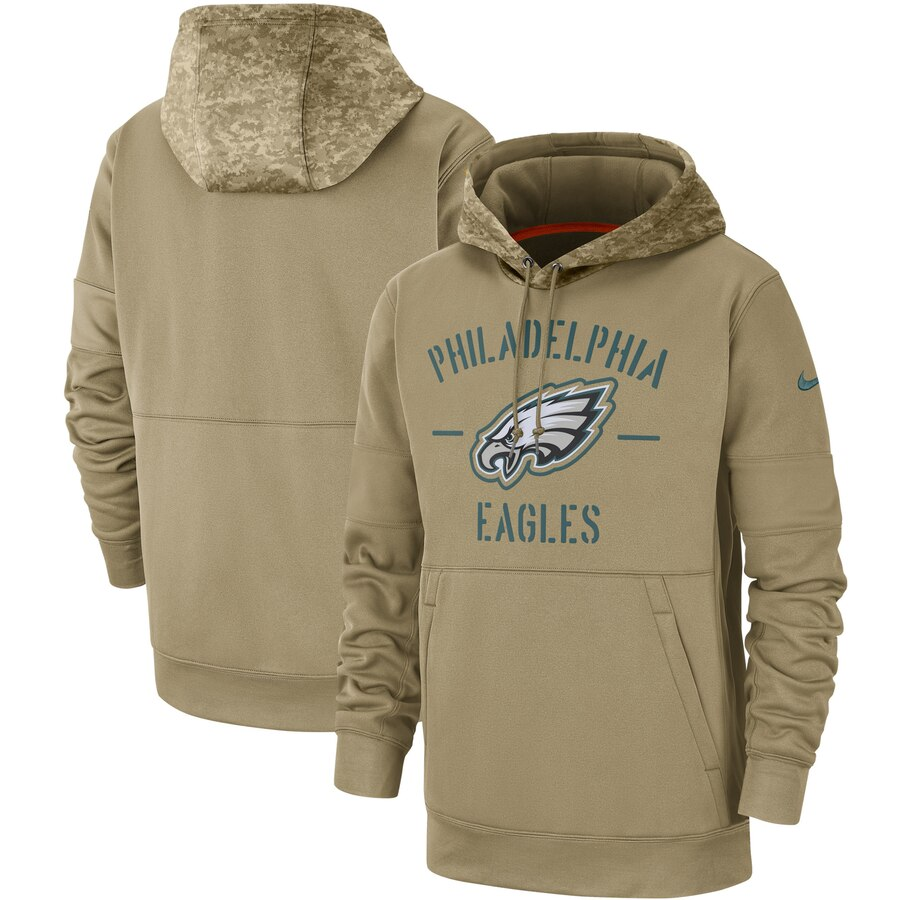 Men's Philadelphia Eagles 2019 Salute To Service Sideline Therma Pullover Hoodie