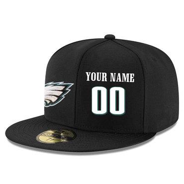 Men's Philadelphia Eagles Black Color Snapback Custom Hat (Stitched any name&number)