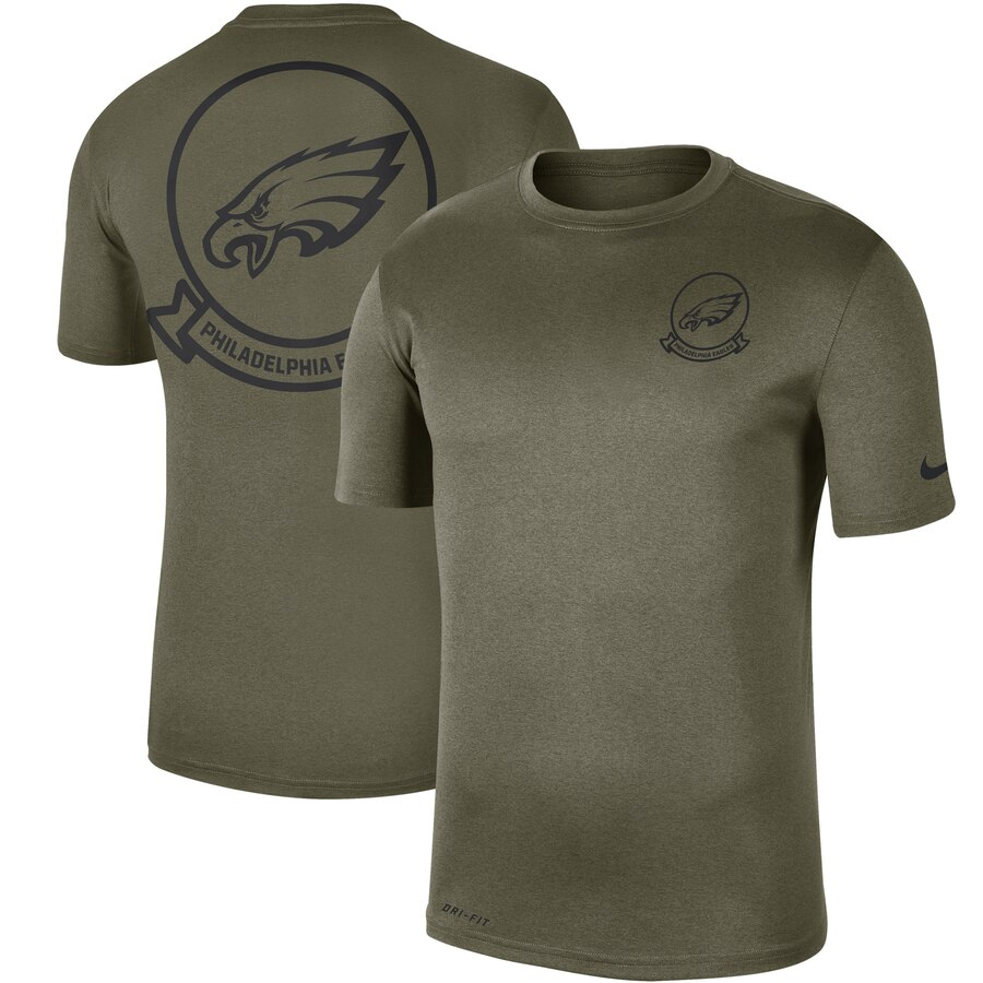 Men's Philadelphia Eagles Nike Olive 2019 Salute To Service Sideline Seal Legend Performance T-Shirt