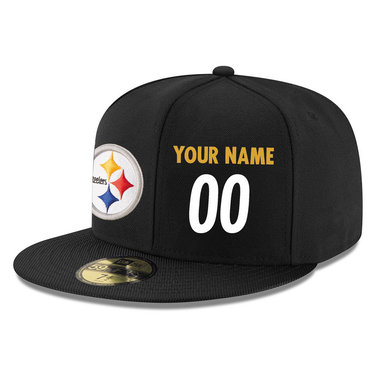 Men's Pittsburgh Steelers Black Color Snapback Custom Hat (Stitched any nameνmber) 1