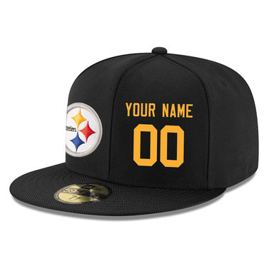 Men's Pittsburgh Steelers Black Color Snapback Custom Hat (Stitched any name&number)