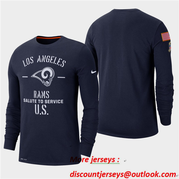 Men's Rams Navy 2019 Salute to Service Sideline Long Sleeve T-Shirt