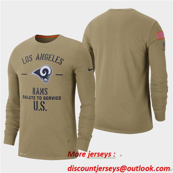 Men's Rams Tan 2019 Salute to Service Sideline Long Sleeve T-Shirt