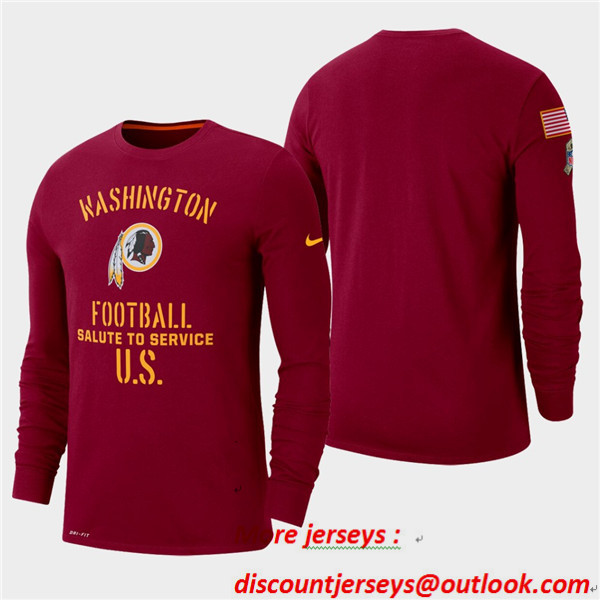 Men's Redskins Burgundy 2019 Salute to Service Sideline Long Sleeve T-Shirt