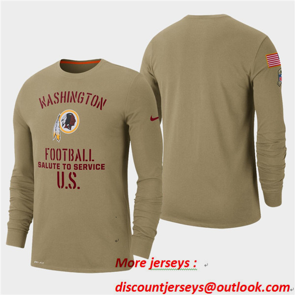 Men's Redskins Tan 2019 Salute to Service Sideline Long Sleeve T-Shirt