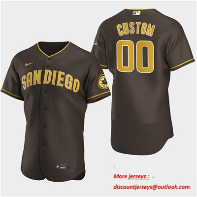 Men's San Diego Padres Custom Nike 2020 Alternate Brown Flexbase Jersey