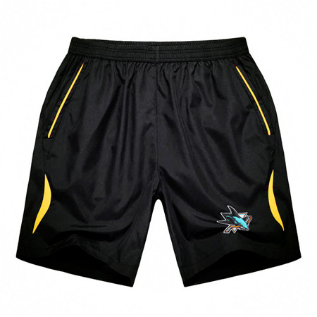 Men's San Jose Sharks Black Gold Stripe Hockey Shorts