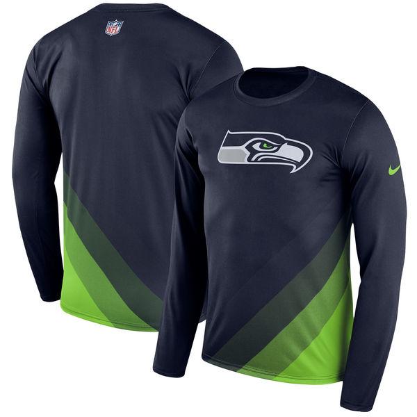 Men's Seattle Seahawks Nike Navy Sideline Legend Prism Performance Long Sleeve T-Shirt