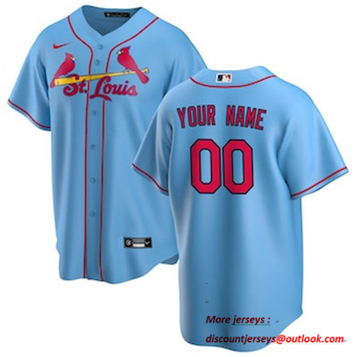 Men's St. Louis Cardinals Nike Light Blue Alternate 2020 Replica Custom Jersey