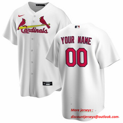 Men's St. Louis Cardinals Nike White Home 2020 Replica Custom Jersey