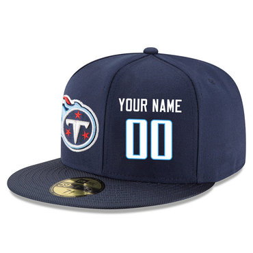 Men's Tennessee Titans Navy Color Snapback Custom Hat (Stitched any name&number)