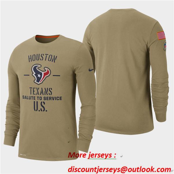 Men's Texans Tan 2019 Salute to Service Sideline Long Sleeve T-Shirt