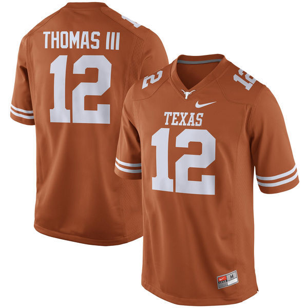 Men's Texas Longhorns 12 Earl Thomas III Orange Nike College Jersey