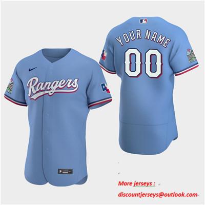 Men's Texas Rangers Custom 2020 Alternate Light Blue Flexbase Jersey