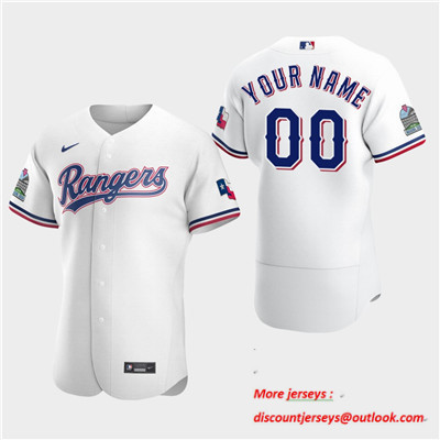 Men's Texas Rangers Custom 2020 Home White Flexbase Jersey