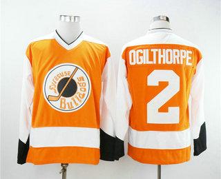 Men's The Movie Slap Shot Syracuse Bulldoges #2 Ogie Ogilthorpe Orange Stitched Hockey Jersey