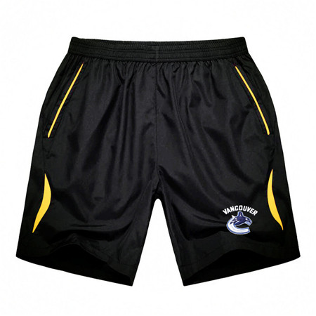 Men's Vancouver Canucks Black Gold Stripe Hockey Shorts