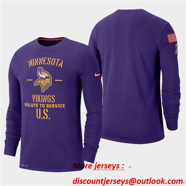 Men's Vikings Purple 2019 Salute to Service Sideline Long Sleeve T-Shirt
