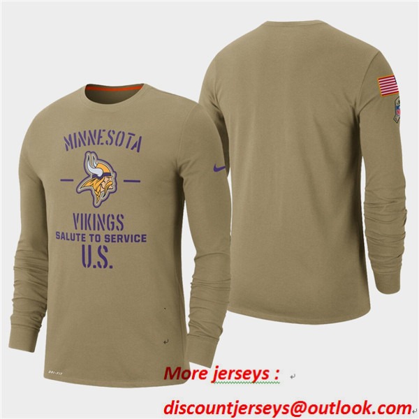 Men's Vikings Tan 2019 Salute to Service Sideline Long Sleeve T-Shirt