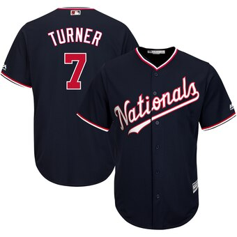 Men's Washington Nationals #7 Trea Turner Navy Alternate Official Cool Base Jersey