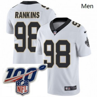 Mens Nike New Orleans Saints 98 Sheldon Rankins White Vapor Untouchable Limited Stitched 100th anniversary Neck Patch NFL Jersey