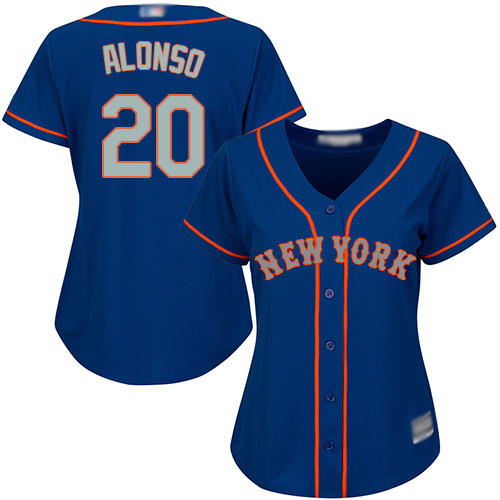 Mets #20 Pete Alonso Blue(Grey NO.) Alternate Women's Stitched Baseball Jersey