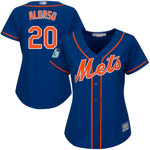 Mets #20 Pete Alonso Blue Alternate Women's Stitched Baseball Jersey