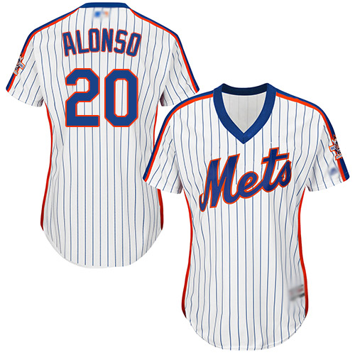 Mets #20 Pete Alonso White(Blue Strip) Alternate Women's Stitched Baseball Jersey