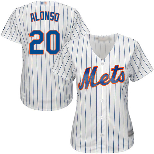 Mets #20 Pete Alonso White(Blue Strip) Home Women's Stitched Baseball Jersey