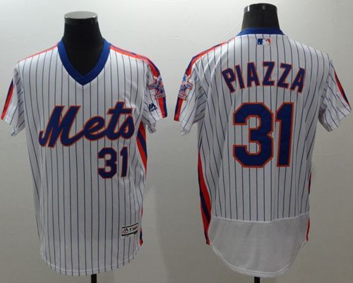promo code 486d8 2f7ba Mets #31 Mike Piazza White(Blue Strip) Flexbase Authentic ...