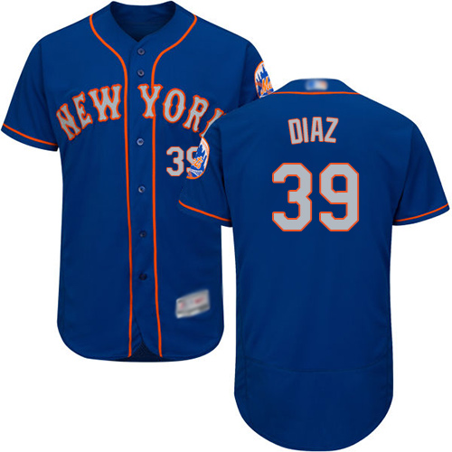 Mets #39 Edwin Diaz Blue(Grey NO.) Flexbase Authentic Collection Stitched Baseball Jersey