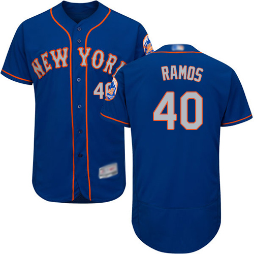 Mets #40 Wilson Ramos Blue(Grey NO.) Flexbase Authentic Collection Stitched Baseball Jersey
