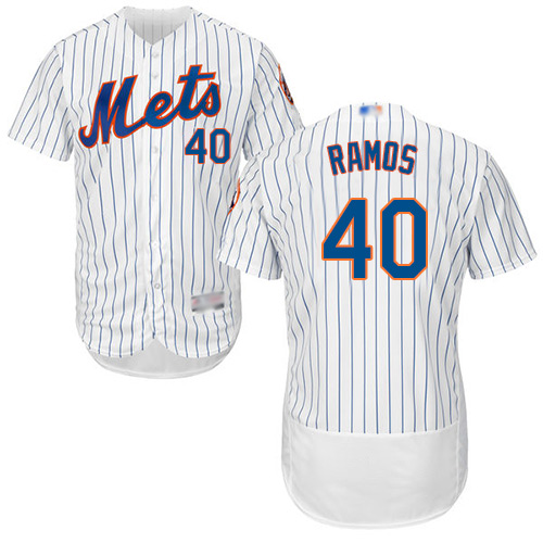 Mets #40 Wilson Ramos White(Blue Strip) Flexbase Authentic Collection Stitched Baseball Jersey
