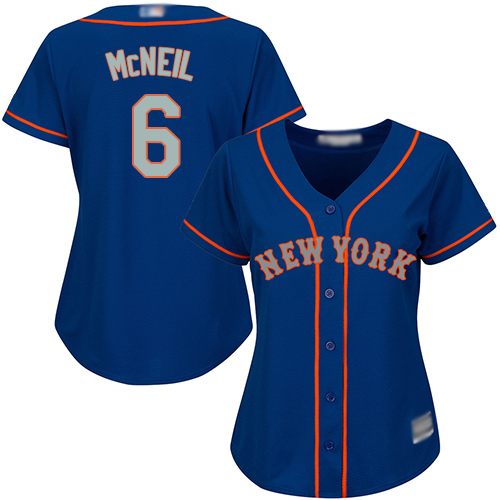 Mets #6 Jeff McNeil Blue(Grey NO.) Alternate Women's Stitched Baseball Jersey