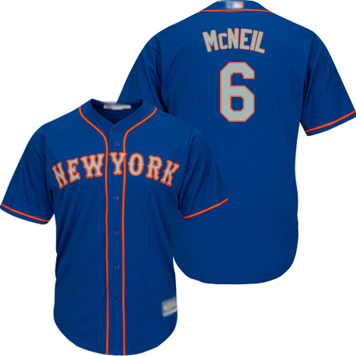 Mets #6 Jeff McNeil Blue(Grey NO.) Cool Base Stitched Youth Baseball Jersey