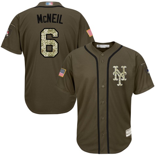 Mets #6 Jeff McNeil Green Salute to Service Stitched Youth Baseball Jersey