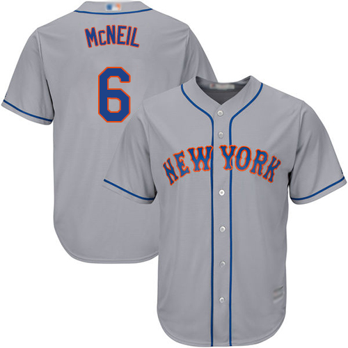 Mets #6 Jeff McNeil Grey Cool Base Stitched Youth Baseball Jersey