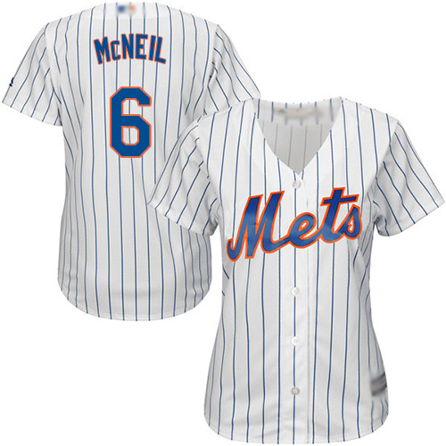 Mets #6 Jeff McNeil White(Blue Strip) Home Women's Stitched Baseball Jersey
