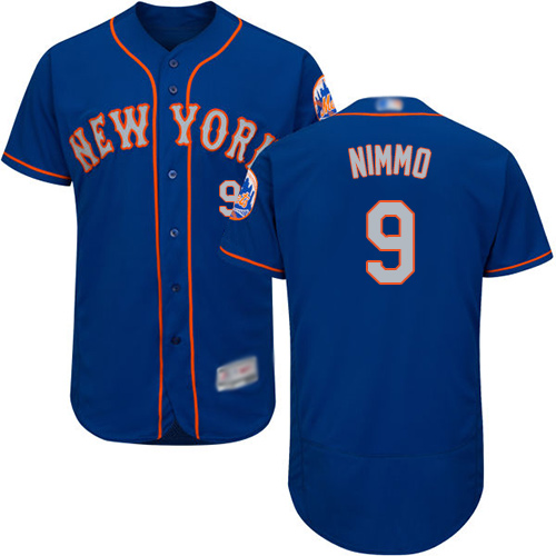 Mets #9 Brandon Nimmo Blue(Grey NO.) Flexbase Authentic Collection Stitched Baseball Jersey